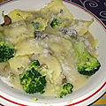 Raviolis aux 4 fromages et brocoli sauce aux bolets