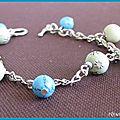 bracelet breloques bleu et vert (Br42)