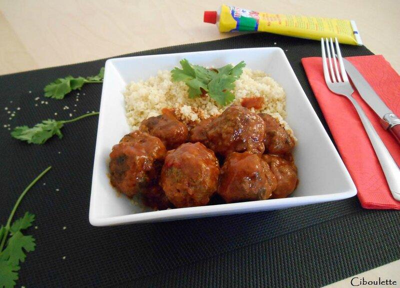 Boulettes de bœuf à la tomate, coriandre & épices façon « couscous »