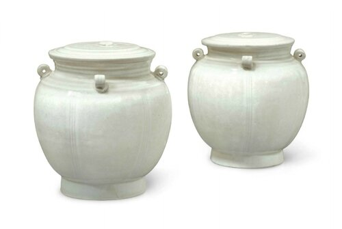 A pair of Qingbai-type jars and covers, China, Southern Song-Yuan Dynasty, 12th-13th century
