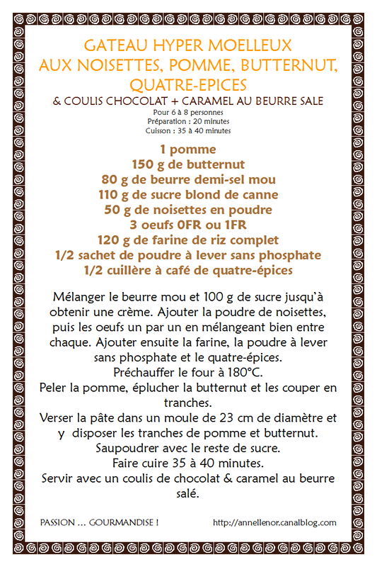 Gâteau noisette, pomme, butternut, quatre-épices & coulis de chocolat-caramel au beurre salé_fiche