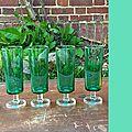 6 flute champagne vert menthe