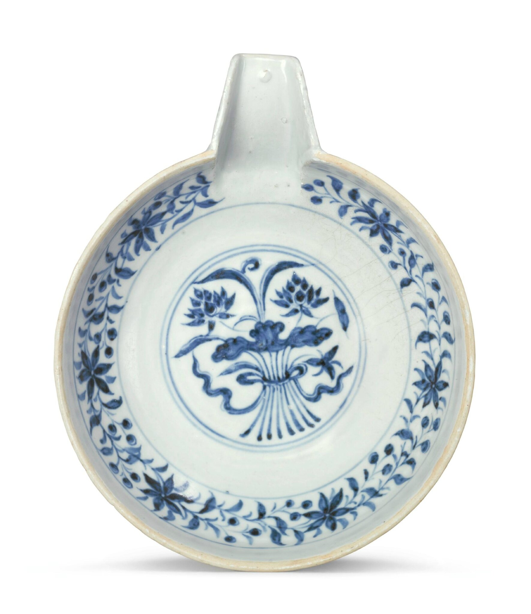 A blue and white pouring bowl, Yuan dynasty (1279–1368)