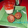 Riz au lait vanillé, compotée fraise/rhubarbe et mini reines de saba