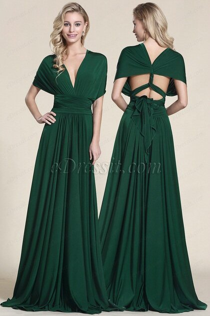 6475450e86b Robe de soirée vert transformable-Manches amples - Photo de Robes ...