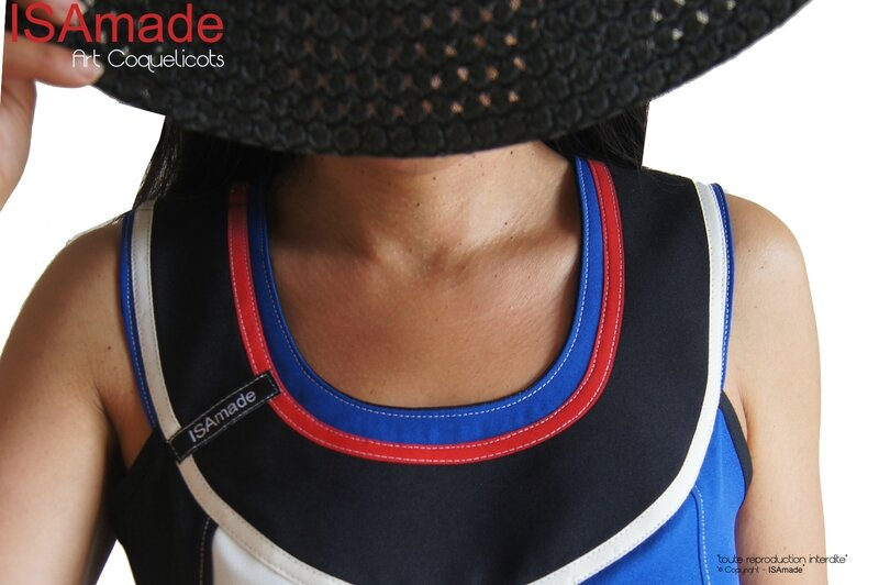 MOD 432C robe trapeze createur bleu blanc rouge graphique fleurie coquelicot made in france