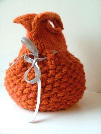sac boule laine orange