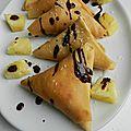 Crêpes façon samoussas ananas, coco § nutella