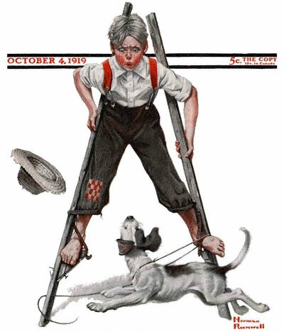 1919-10-04-Saturday-Evening-Post-Norman-Rockwell-cover-Boy-on-Stilts-no-logo-400-Digimarc