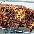 Gateau marbré (ultra moelleux) chocolat / praliné