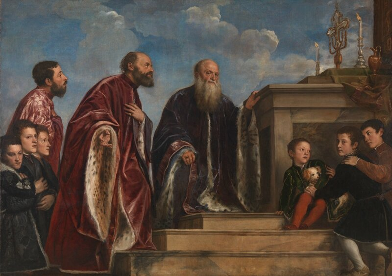 Titian, 'The Vendramin Family, venerating a Relic of the True Cross', Begun about 1540-3, completed about 1550-60