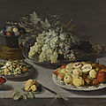 Osias beert the elder, still life of grapes and other fruits with a knife, façon de venise wineglasses and other objects...