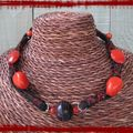Collier cuir noir et orange (CC30)