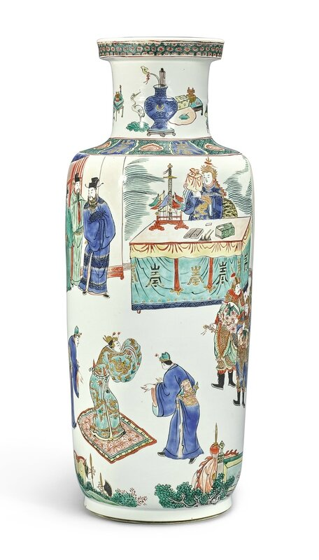 A famille-verte 'Birthday' rouleau vase, Qing dynasty, Kangxi period (1662-1722)