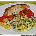 Salade multicolore et poulet rôti