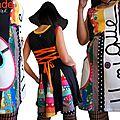 Robe femme maille Asymétrique et Graphique patch multicolore Fleurs et écru chic esprit 60's