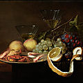 Joris van son, 1623 - 1667, pewter dish with crabs and prawns and grapes, partially peeled lemon, peaches and two wine glasses