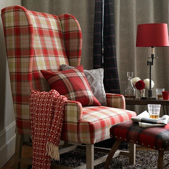 Red-Tartan-and-Grey-Living-Room-Country-Homes-and-Interiors-Housetohome