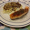 Pavés de saumon à l'unilatérale et riz au caviar d'aubergines