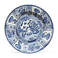 A large blue and white 'Kraak Porselein' dish, Wanli Period (1573-1619)