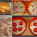 Clafoutis au poulet fumé, tomates cerise et mozzarella