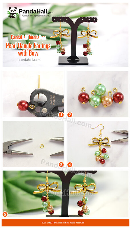 1-PandaHall Tutorial on Pearl Dangle Earrings with Bow