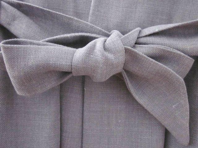 manteau en lin gris ardoise à noeud (5)