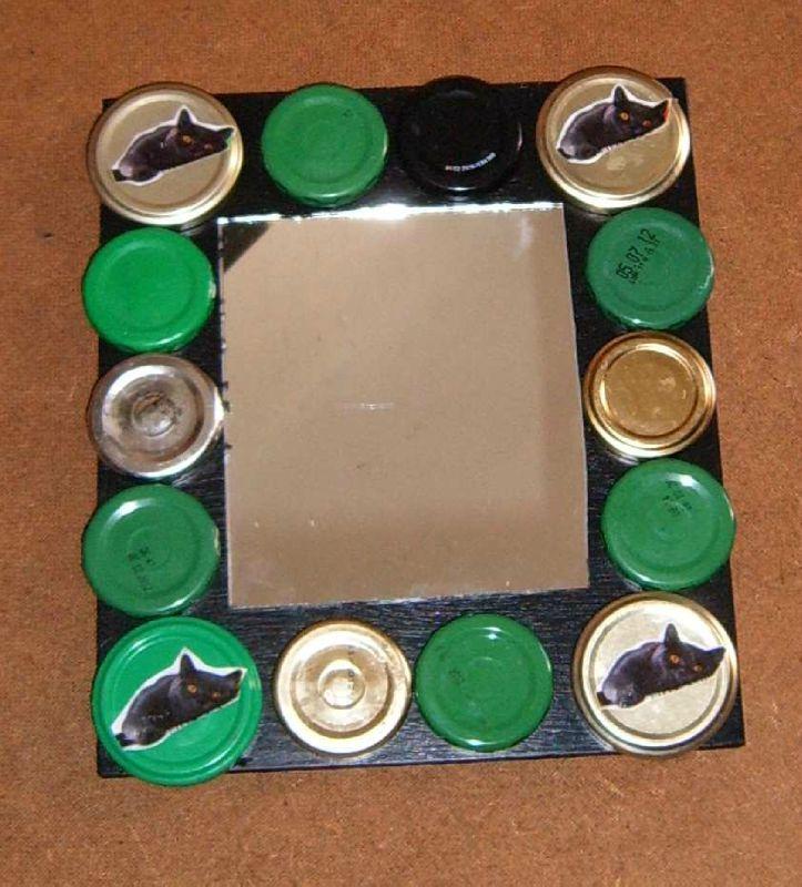 Déchets métalliques et bois valorisation - Recyclage couvercles métal - Miroir déco couvercles bocaux - Objet Art Création Recyclage récupération