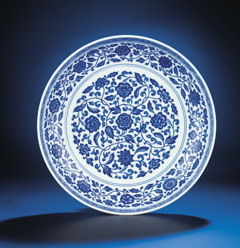 A fine Ming-style blue and white dish, Yongzheng six-character mark within double-circles and of the period (1723-1735)