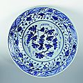 Plate with grape and vine decoration, Xuande period, Ming Dynasty
