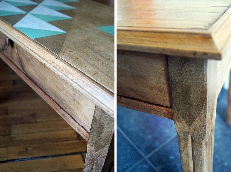 Table basse decor graphique - details decor pieds