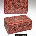 A carved red lacquer rectangular box and cover, jiajing six-character incised and gilded mark and of the period (1522-1566)
