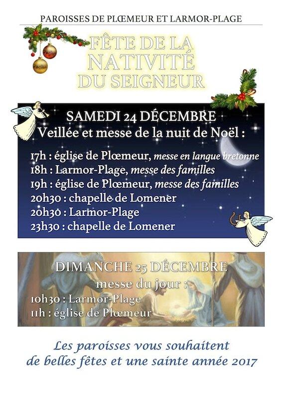Horaires célébrations Noël 2016