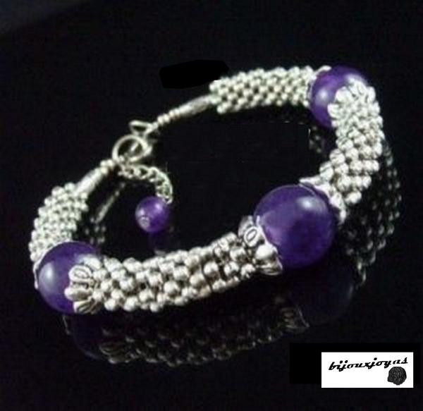 _Bracelet_Ethnique__Rolling__3_Perles_Jade_Purple_10_mm_Argent_du_Tibet