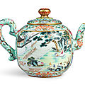 A rare turquoise-ground famille-rose 'hui mountain retreat' teapot and cover, seal mark and period of qianlong (1736-1795)