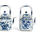 Two blue and white wine pots and covers, kangxi period (1662-1722)