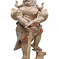 A painted pottery figure of a guardian, tang dynasty