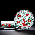 A red and green-enamelled 'floral and stone' box and cover, jiajing period, 1522-1566
