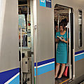 Blue dress in blue lines train (Tozai line)