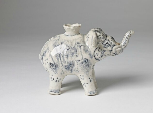 Blue and White Elephant Shaped Ewer, Vietnam