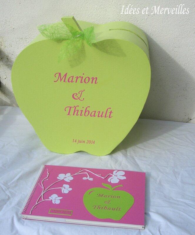 urne mariage pomme vert anis et fuchsia - idees et merveilles