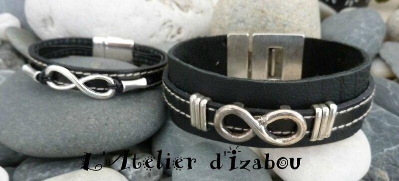P1190174 Duo de bracelet homme-femme cuir noir et passant infini Saint Valentin