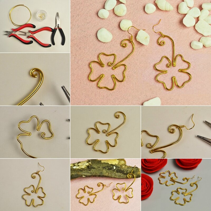 Pandahall-Easy-Project-–-How-to-Make-a-Pair-of-Wire-Wrapped-4-Leaf-Clover-Earrings