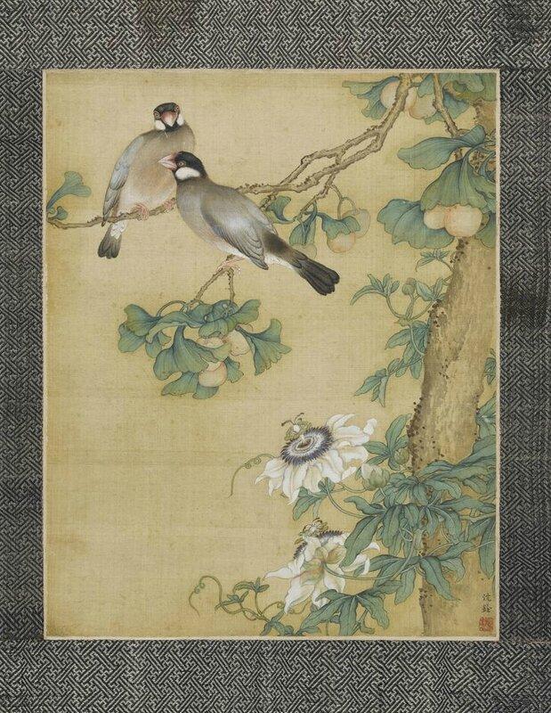 Two Imperial bird paintings by Shen Quan, Qing dynasty, Qianlong period (1)