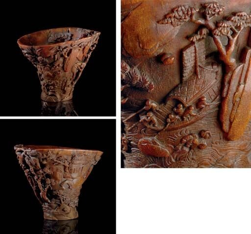 A_well__carved_rhinoceros_horn__Lndscape__libation_cup__18th_century