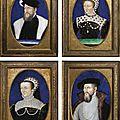 Limoges, xixe siècle, à la manière de léonard limosin, anne de montmorency; catherine de médicis; elisabeth de valois;...