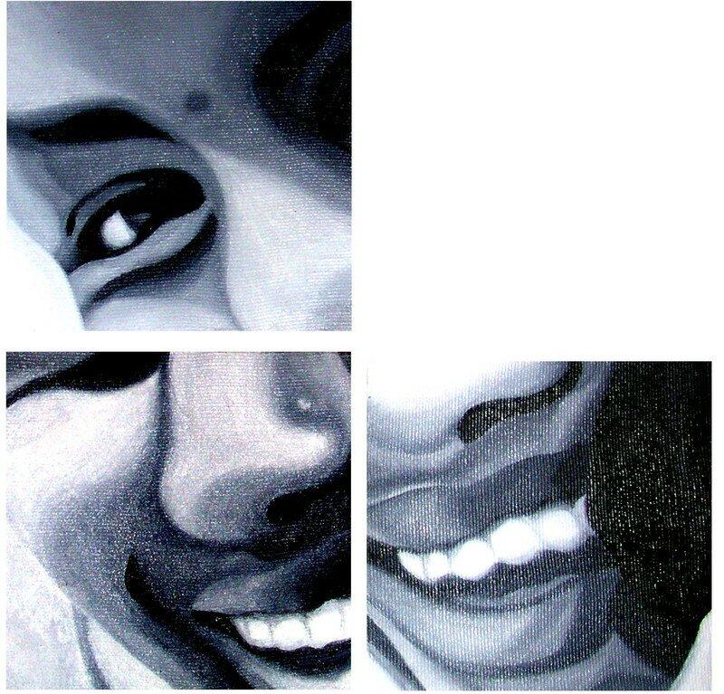 Peinture acrylique sur carton-toilé 3 fois 12X12cm (offert)