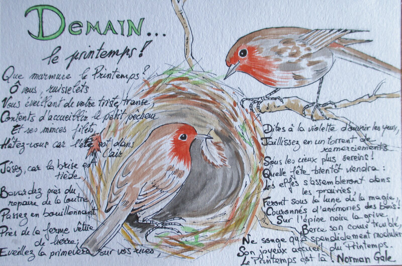 Couple rouges-gorges & nid + poème Norman Gale (illustration)