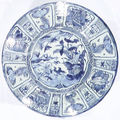 A large blue and white 'kraak' porcelain dish. late ming dynasty