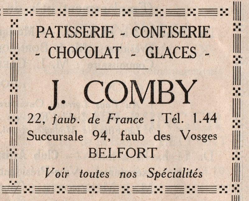 Publicité Pâtisserie Jules Comby BF
